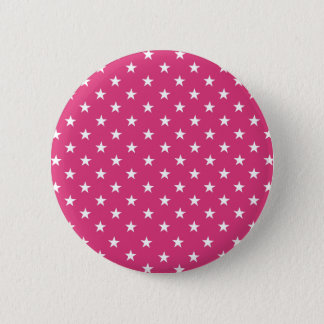 Chic White Stars On Fashionable Cabaret Red. Buy Pinback Button
