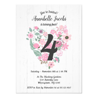 Chic White Wood Pink Floral Birthday Invitations