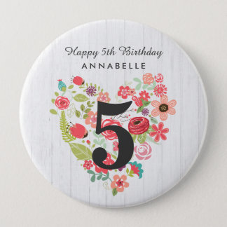 Chic White Wood & Whimsical Floral Happy Birthday Pinback Button