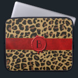 "Chic Wild Animal Print with Monogram Laptop Case<br><div class=""desc"">Stylish 15&quot; laptop case done in a brown and black spotted jaguar fur pattern.  Graphics of a red satin looking ribbon,  runs across the middle,  with a red wax seal that has a black one letter monogram.  Personalize the monogram for yourself or as a purrrfect gift idea.</div>"