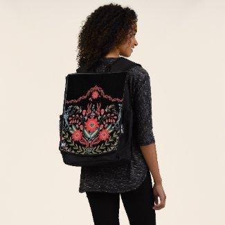 Chic Wild Flower Folk Art Backpack
