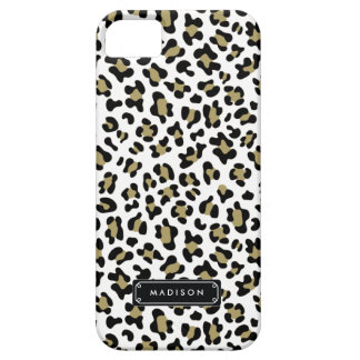 Chic Wild Gold Beige Leopard Print Personalized iPhone 5 Cover