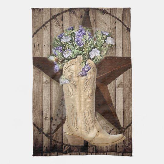 Chic Wildflower Texas Star Western country cowgirl Hand Towels