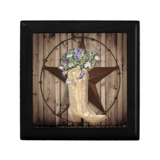 Chic Wildflower Texas Star Western country cowgirl Keepsake Box
