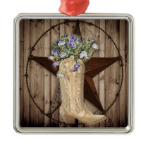 Chic Wildflower Texas Star Western country cowgirl Metal Ornament