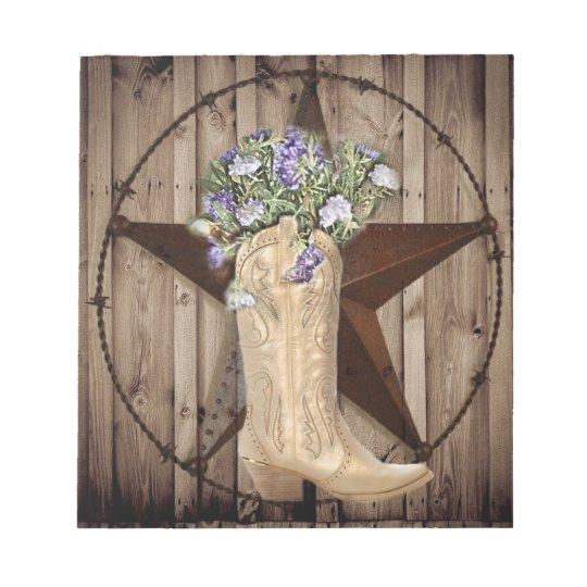 Chic Wildflower Texas Star Western country cowgirl Notepad