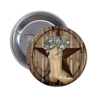 Chic Wildflower Texas Star Western country cowgirl Pinback Button