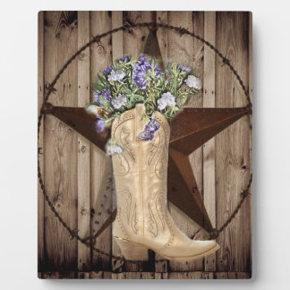 Chic Wildflower Texas Star Western country cowgirl Plaque