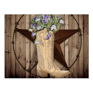Chic Wildflower Texas Star Western country cowgirl Postcard