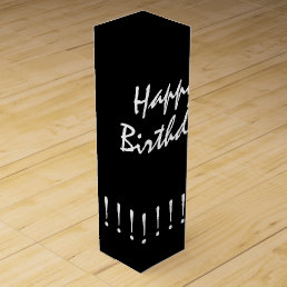 "CHIC WINE GIFT_""Happy Birthday"" WHITE ON BLACK Wine Box"