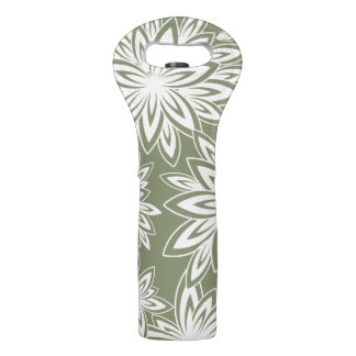 CHIC WINE TOTE_WHITE FLORAL ON 401 SAGE WINE BAG