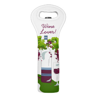 "CHIC WINE TOTE_""WINE LOVER"" #2 ON WHITE WINE BAG"