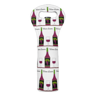 "CHIC WINE TOTE_""WINE LOVER"" #3 ON WHITE WINE BAG"