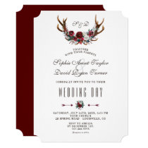 Chic Winter Burgundy Floral Antlers Gold Wedding Invitation