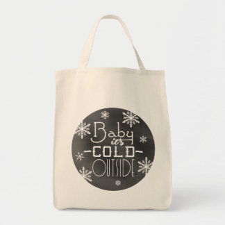 Chic Winter Chalkboard Baby it's Cold Outside Tote Bag