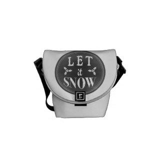 Chic Winter Chalkboard Let it Snow Messenger Bag