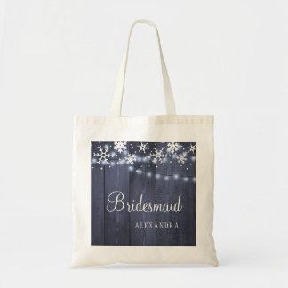 Chic winter rustic country wood wedding bridesmaid tote bag