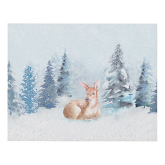 Chic Winter Watercolor Deer in Forest Panel Wall Art