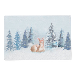 Chic Winter Watercolor Deer in Forest Placemat