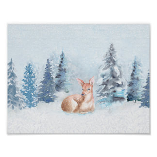 Chic Winter Watercolor Deer in Forest Poster