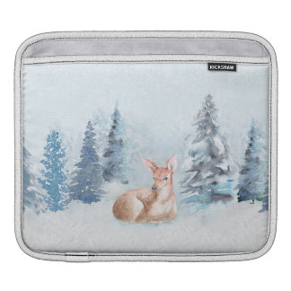 Chic Winter Watercolor Deer in Forest Sleeve For iPads