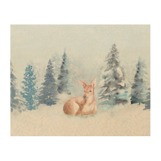 Chic Winter Watercolor Deer in Forest Wood Wall Decor