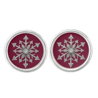 Chic Winter Wedding Snowflake Cuff Links