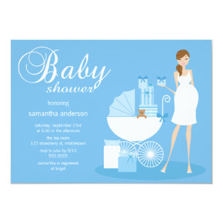 "Chic Woman Baby Shower Invitation - Boy 5"" X 7"" Invitation Card"