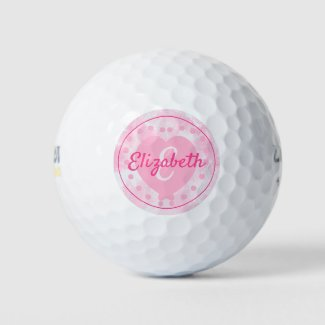 Chic Women's Pink Heart Name and Initial Monogram Golf Balls