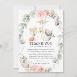 Chic Woodland Animals Floral Greenery Baby Shower Thank You Card