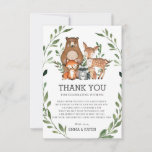 Chic Woodland Forest Animals Greenery Baby Shower Thank You Card