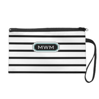 CHIC WRISTLET_ BLACK/WHITE/132 SEAFOAM WRISTLET PURSE