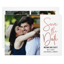 Chic Writing EDITABLE COLOR Save The Date RoseGold Invitation