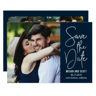 Chic Writing EDITABLE COLOR Save The Date Silver Card