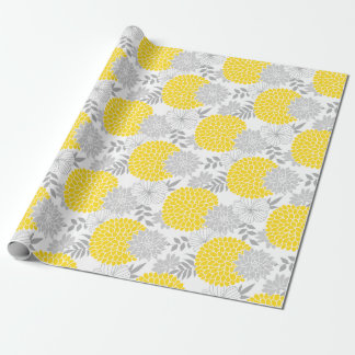 Chic Yellow and Gray Floral Pattern Wrapping Paper