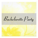 Chic Yellow and Gray Flower Bachelorette Party Custom Invitations