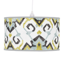 Chic yellow and gray ikat tribal pattern ceiling lamp