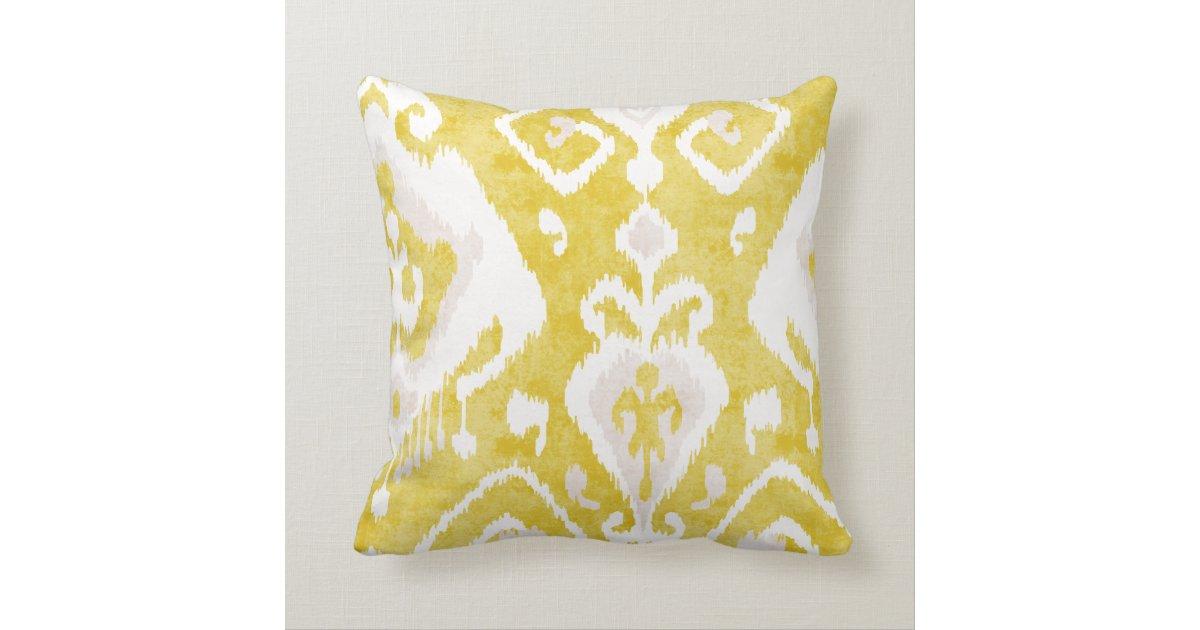 Chic yellow and grey damask ikat tribal pattern throw pillow Zazzle