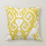 Chic yellow and grey damask ikat tribal pattern throw pillow