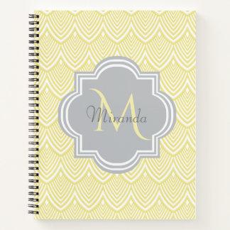 Chic Yellow Art Deco Scallops Gray  Monogram Name Notebook