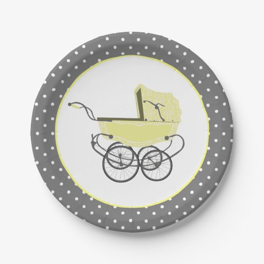 Chic Yellow Baby Buggy Baby Shower Paper Plate Zazzlecom