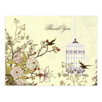 Chic yellow bird cage, love birds Thank You Postcard