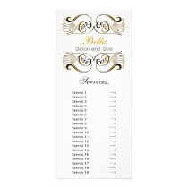 chic yellow, black and white Services rack card