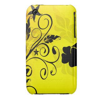 Chic Yellow &Black Swirly Flower Design iPhoneCase iPhone 3 Cover
