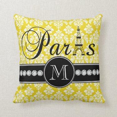 Chic Yellow Damask Paris Monogrammed Throw Pillows