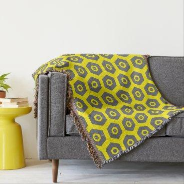 Wedding Themed Chic Yellow Gray Geometric 4Erika Throw Blanket