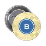 Chic yellow greek key geometric patterns monogram button