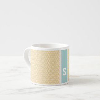 Chic yellow interlocking pattern monogram espresso cup