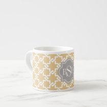 Chic yellow interlocking pattern monogram espresso cup
