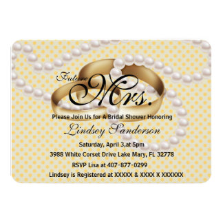 Chic Yellow Rings With Pearls Bridal Invite